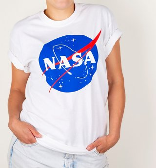 Women's White NASA Boyfriend T-Shirt