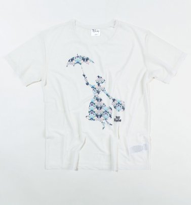 Women's White Sheer Mesh Mary Poppins Floral T-Shirt from Difuzed