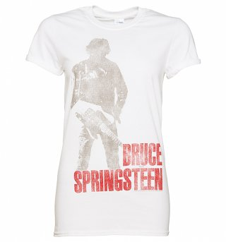 Women's White Standing Bruce Springsteen Boyfriend T-Shirt