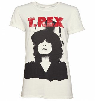 Women's White T-Rex Marc Bolan Rolled Sleeve Boyfriend T-Shirt