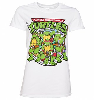 Women's White Teenage Mutant Ninja Turtles Group Boyfriend T-Shirt