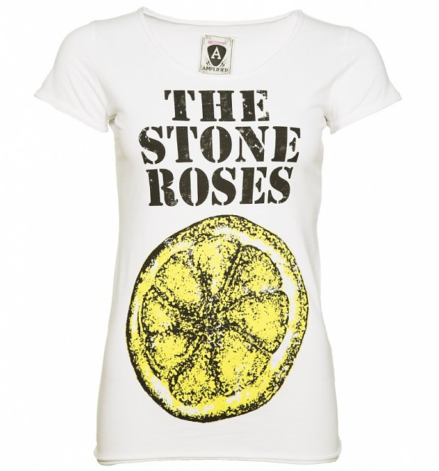 Women's White The Stone Roses Big Lemon T-Shirt from Amplified