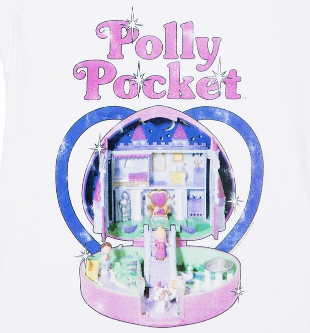 Women's White Vintage Polly Pocket Scoop Neck T-Shirt