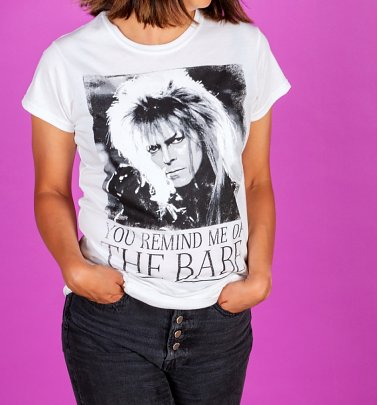 Women's White You Remind Me Of The Babe Bowie Labyrinth Fitted T-Shirt