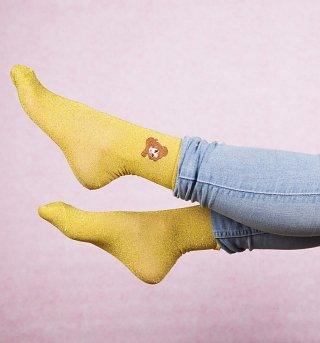Women's Yellow Disney Princess Beauty & The Beast Belle Glitter Socks from Local Heroes