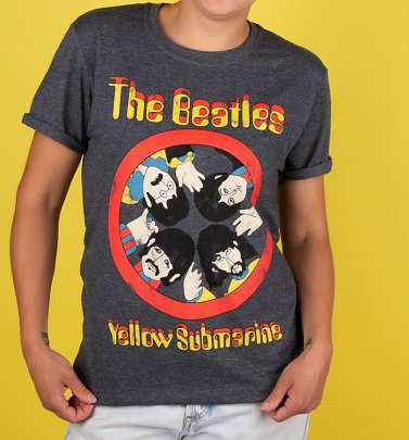 Women's Yellow Submarine Porthole Dark Heather Boyfriend Fit Rolled Sleeves T-Shirt