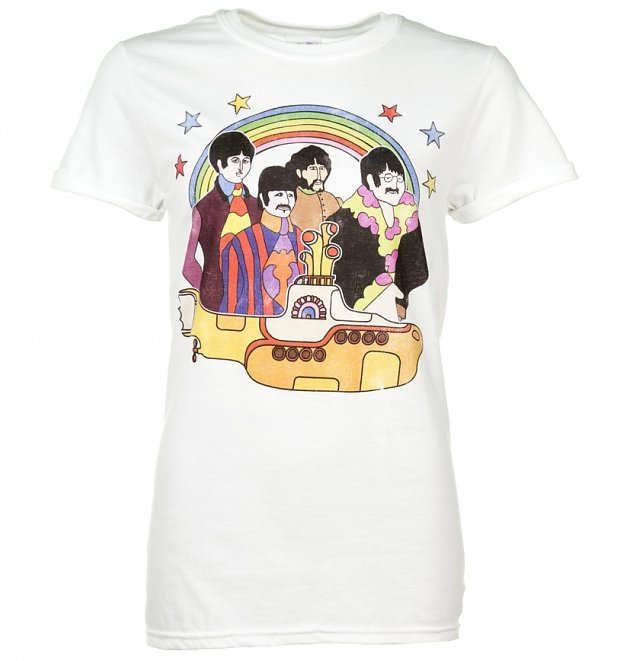 Women's Yellow Submarine The Beatles Rolled Sleeve Boyfriend T-Shirt