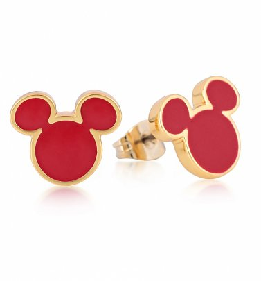 Yellow Gold Plated Mickey Mouse Red Enamel Stud Earrings from Disney by Couture Kingdom