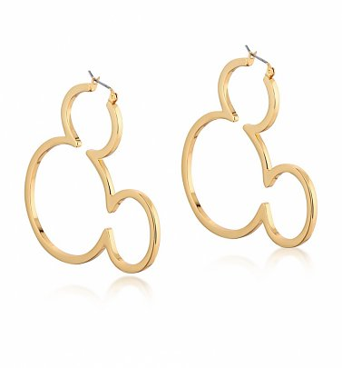 Yellow Gold Plated Mickey Mouse Silhouette Hoop Earrings from Disney by Couture Kingdom