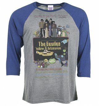 Yellow Submarine Movie Poster Grey And Navy Baseball Raglan T-Shirt