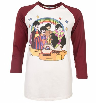 Yellow Submarine The Beatles White and Maroon Baseball T-Shirt