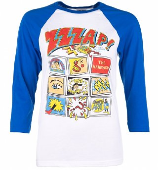 Zzzap Inspired Comic Book Cover White And Blue Raglan Baseball T-Shirt