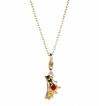 14kt Gold Plated Disney Princess Tiara Charm Necklace from Disney Couture