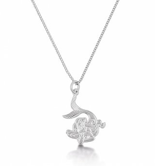 14kt White Gold Plated Ariel Little Mermaid Pendant Necklace from Disney Couture