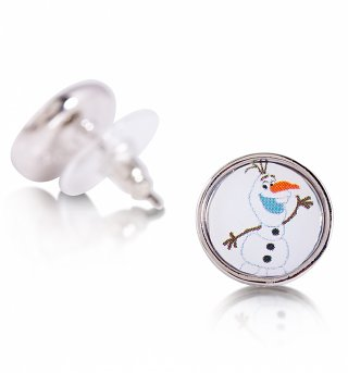 14kt White Gold Plated Frozen Olaf Snowman Stud Earrings from Disney Couture
