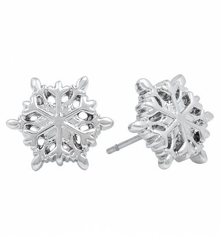 14kt White Gold Plated Frozen Snowflake Stud Earrings from Disney Couture