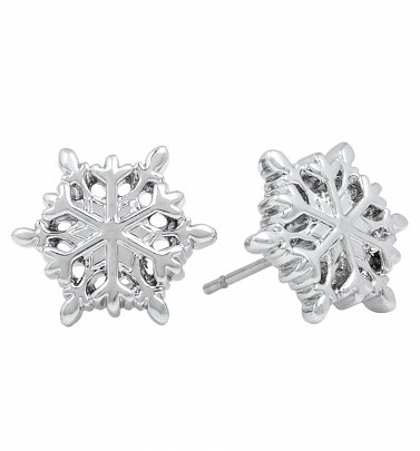 White Gold Frozen Snowflake Stud Earrings from Disney by Couture Kingdom