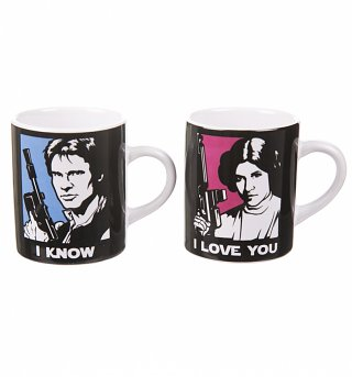 Boxed Han Solo And Princess Leia Set Of 2 Mini Mugs