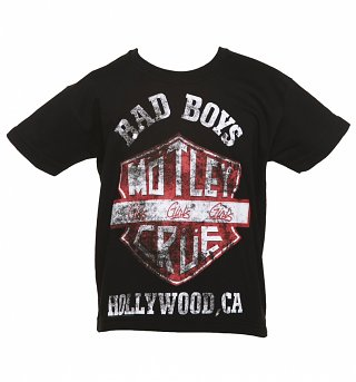 Kids Black Motley Crue Bad Boys Shield T-Shirt