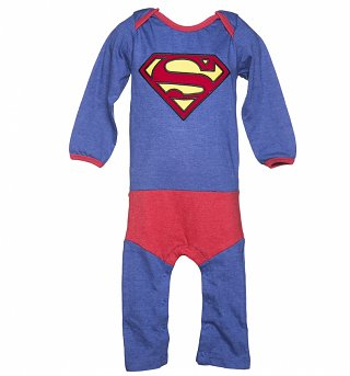 Kids Blue DC Comics Superman Logo Costume Supersuit from Fabric Flavours