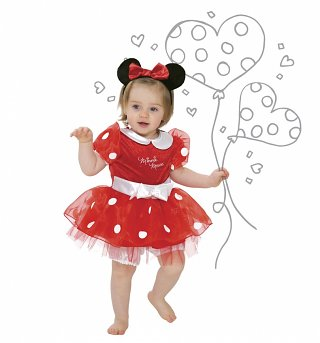 Kids Disney Minnie Mouse Fancy Dress Costume With Headband