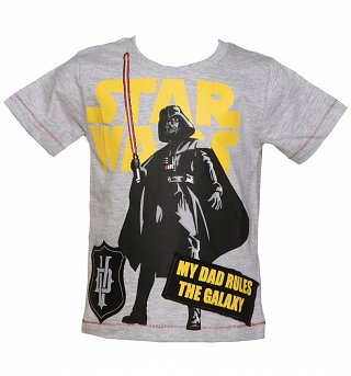 Kids Grey Marl Star Wars Darth Vader My Dad Rules The Galaxy T-Shirt from Fabric Flavours