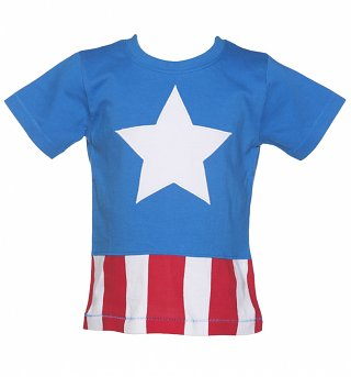 Kids Marvel Comics Captain America Costume T-Shirt from Fabric Flavours