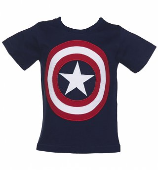 Kids Navy Marvel Captain America Shield T-Shirt from Fabric Flavours