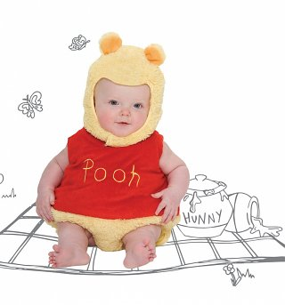 Kids Winnie The Pooh Bodysuit Costume With Hood
