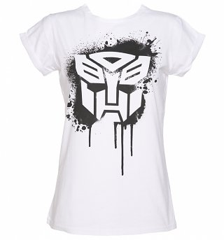 Women's Autobot Transformers Stencil Rolled Sleeve Boyfriend T-Shirt