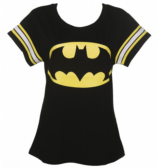 Women's Black DC Comics Batman Logo Varsity T-Shirt from For Love & Money