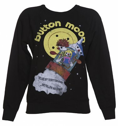 Women's Black We're Off To Button Moon Sweater