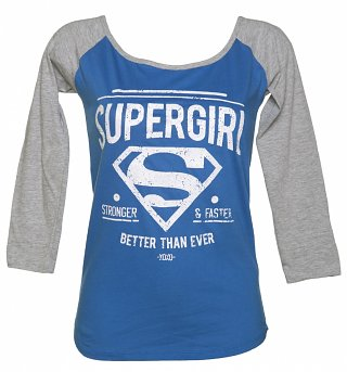 Women's Blue And Grey DC Comics Supergirl Baseball T-Shirt With Glitter Print