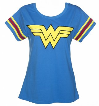 Women's Blue DC Comics Wonder Woman Logo Varsity T-Shirt from For Love & Money