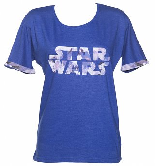 Women's Blue Marl Floral Star Wars Logo T-Shirt from Eleven Paris