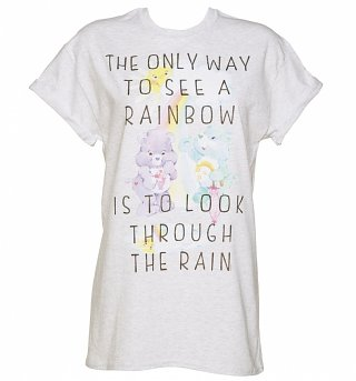 Women's Care Bears Only Way To See A Rainbow Rolled Sleeve Boyfriend T-Shirt
