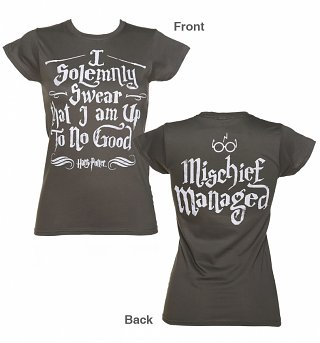 Women's Charcoal Harry Potter I Solemnly Swear Mischief Managed T-Shirt
