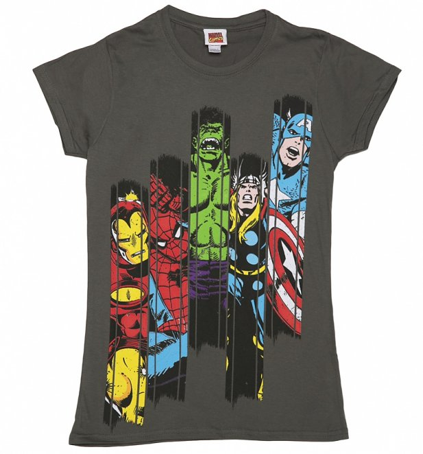Women's Charcoal Marvel Superheroes Panel T-Shirt