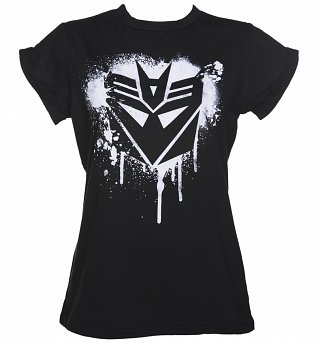 Women's Decepticon Transformers Stencil Rolled Sleeve Boyfriend T-Shirt