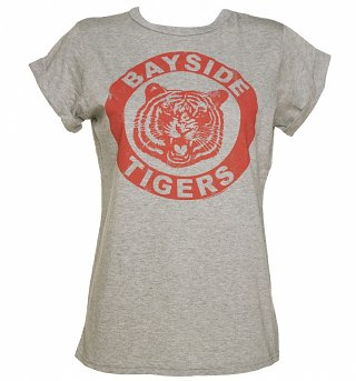 Women's Grey Saved By The Bell Bayside Tigers Rolled Sleeve Boyfriend T-Shirt