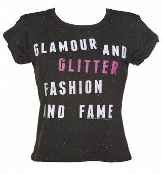 Women's Jem And The Holograms Glamour and Glitter Speckled Rolled Sleeve T-Shirt