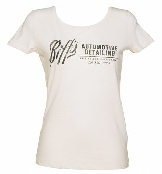 Women's Off White Biffs Automotive Detailing Scoop Neck Organic Slub T-Shirt