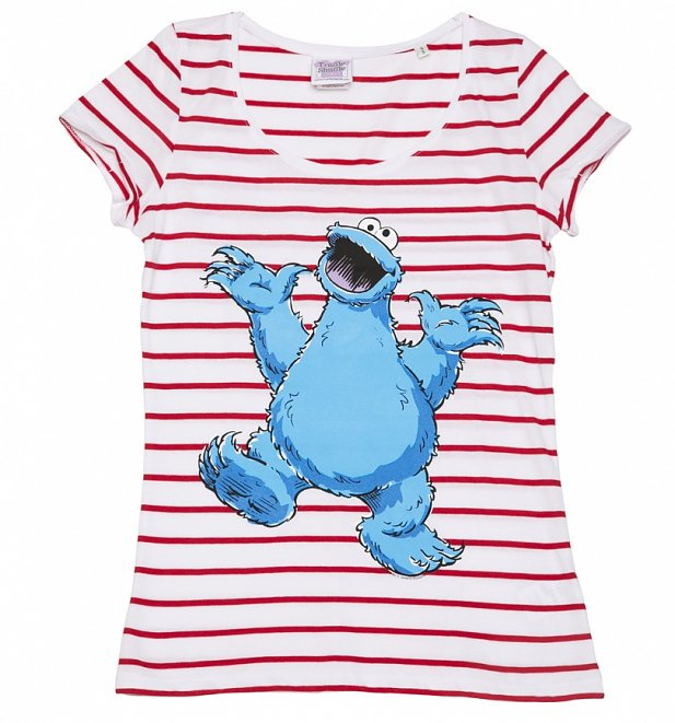 Women's Sesame Street Cookie Monster Striped Scoop Neck T-Shirt