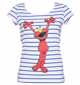 Women's Sesame Street Elmo Striped Scoop Neck T-Shirt