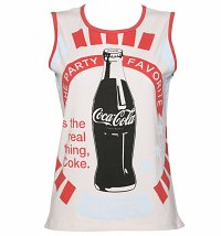 Women's Cream And Red Vintage Coca-Cola Baseball Sleeveless T-Shirt