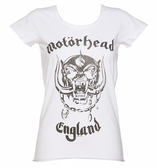 Women's White Motorhead England T-Shirt from Amplified