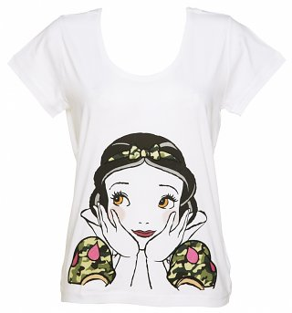 Women's White Snow White Camouflage Disney Scoop Neck T-Shirt from Eleven Paris
