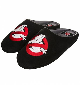 Men's Black Glow In The Dark Ghostbusters Logo Slippers