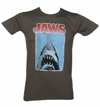 Men's Charcoal Jaws Movie Poster T-Shirt