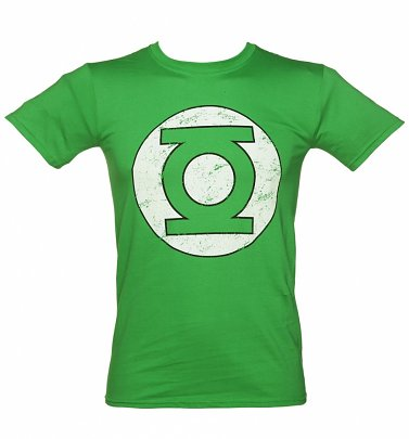 Men's Green Distressed DC Comics Green Lantern Logo T-Shirt
